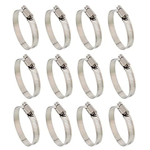 """ABN Hose Clamp 12-Pack, 2"""" Inch, Zinc Plated, 32-51mm Range – For Plumbing, Automotive, and Mechanical (Air Hose Clamp Tool)"""
