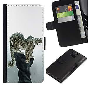 HTC One M8 - Dibujo PU billetera de cuero Funda Case Caso de la piel de la bolsa protectora Para (Cool Snow Leopard)