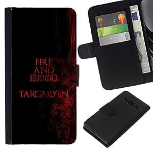 // PHONE CASE GIFT // Moda Estuche Funda de Cuero Billetera Tarjeta de crédito dinero bolsa Cubierta de proteccion Caso Samsung Galaxy A3 / Fire and Blood Targaryen /