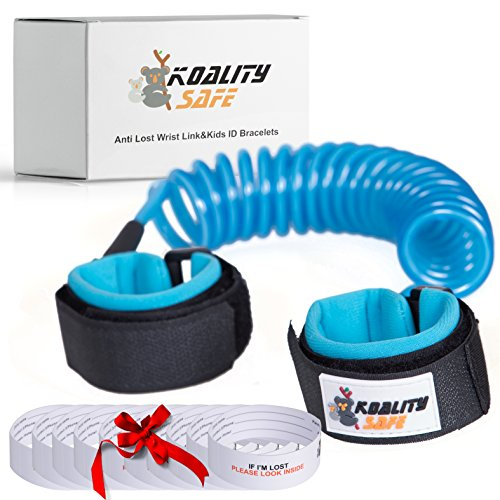 Toddler Leash Baby Leash Anti Lost Wrist Link For The safety of the child (2 meters) & Bonus 10 Anti Lost ID Bracelets For Kids by Koality Safe. Get Your Peace of Mind Now!