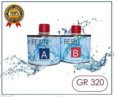 Resina Epoxi líquida supertransparente, 320 g, bicomponente A+B, efecto agua para creaciones transparentes, resina para joyas y creaciones impresas: ...