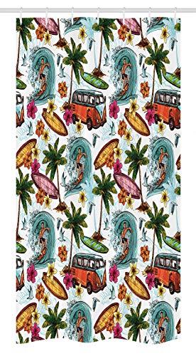 (Ambesonne Ocean Decor Stall Shower Curtain, Hawaiian Decor Surfer on Wavy Deep Sea Retro Palms Flowers Surf Boards Print, Fabric Bathroom Decor Set with Hooks, 36 W x 72 L Inches, Multicolor)