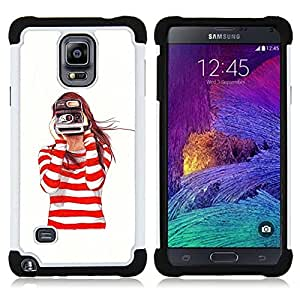 For Samsung Galaxy Note 4 SM-N910 N910 - camera redhead girl white Dual Layer caso de Shell HUELGA Impacto pata de cabra con im??genes gr??ficas Steam - Funny Shop -