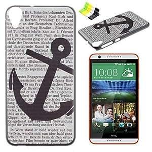 Caso duro carta ancla patrón pc y soporte para teléfono para HTC Desire 820
