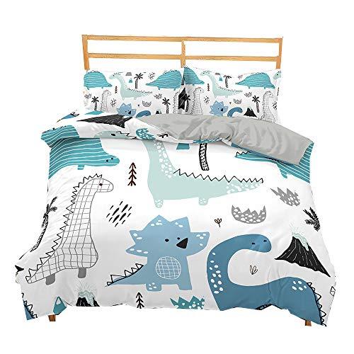Zeimon Kids Dinosaur Duvet Cover Set Queen Boys Girls Bedding with 2 Pillowcases and 1 Duvet Cover(Dinosaur,Queen)