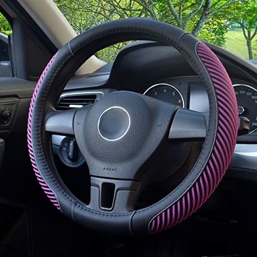 BOKIN Steering Wheel Cover, Microfiber Leather and Viscose, Breathable, Anti-Slip, Odorless, Warm in Winter and Cool in Summer, Universal 15 Inches (New Purple)