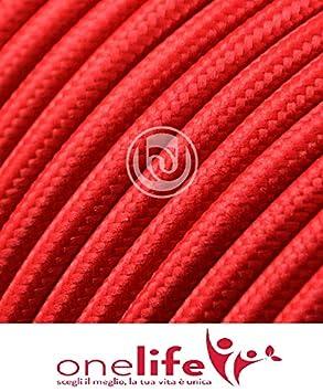 C/âble /électrique pour /éclairage rond recouvert de tissu effet satin/é uni rouge rubis avec terre