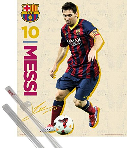 acc77dc34 Football - FC Barcelona, Messi Vintage 13/14 Mini Poster (50 x 40 cm) Poster  + Hangers, transparent: Amazon.co.uk: Kitchen & Home