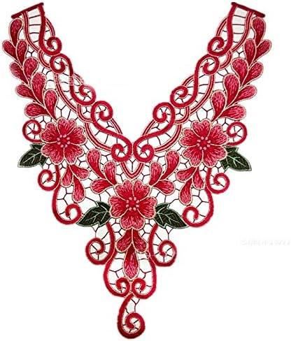 Metallic Flower Neckline Lace Collar Patches Venise Applique Motif Sewing DIY