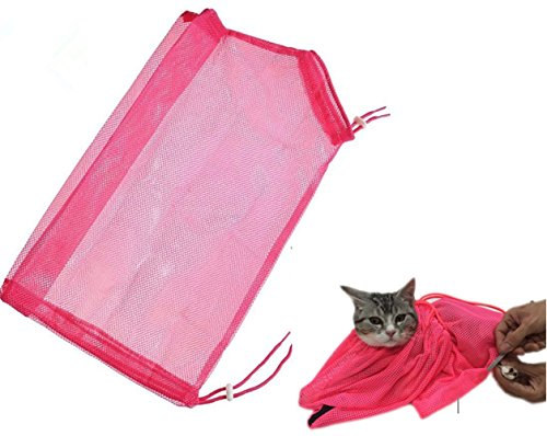 TECH-P Creative Life Adjustable Multifunctional Polyester Cat Washing Shower Mesh Bags Pet Nail Trimming Bags-Pink