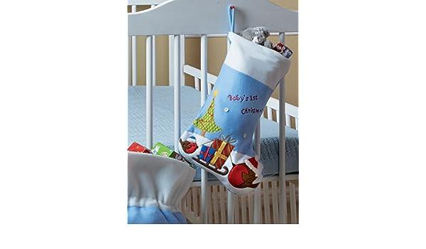 Los Babys 1st Christmas Stocking Azul Con festivas Robin Diseño