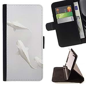 For Apple Apple iPhone 4 / iPhone 4S Case , Pescados del arte minimalista Papel Lápiz- la tarjeta de Crédito Slots PU Funda de cuero Monedero caso cubierta de piel