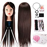 Mannequin Head, Beauty Star 24 Inch Chestnut Color Long Hair Cosmetology Mannequin Manikin Training Head Model Hairdressing Styling Practice Training Doll Heads with Clamp Stand and Accessories