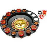The Premium Drinking Roulette Game - 16 Shot Glasses, 2 Balls Set - Spinning Wheel - Ultimate Russian Play Party Casino Adult Fun - Great for Birthday, Bachelor, Family or Frat Party - Great Gift
