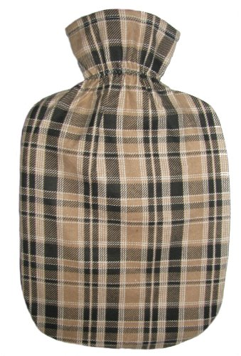 Cover Tan Flannel (Warm Tradition Tan Tartan Cotton Flannel Hot Water Bottle Cover - COVER ONLY- Made in USA)