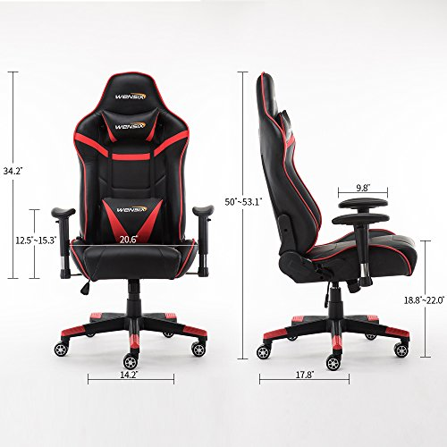 wensix ergonomic high back computer gaming chair for pc racing chairs with adjustable headrest and back support red