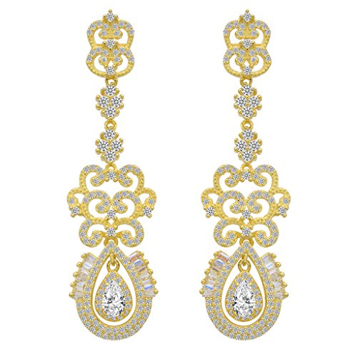 EVER FAITH 925 Sterling Silver CZ Vintage Style Art Deco Tear Drop Chandelier Earrings Clear Gold-Tone