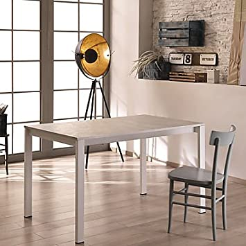 Elegant Stones Trend Tisch Ausziehbar, Holz, Beton Weiß, 130 X 80 X 76 Cm