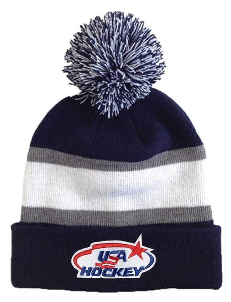 b06859f705a Amazon.com  USA Hockey Blue Gray Striped Beanie Cap Stocking Knit Hat Winter  Sports Ski Pom  Clothing