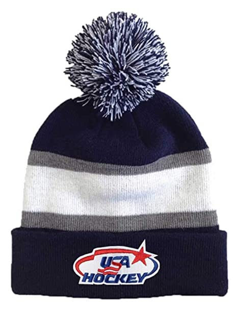 7d5ea91be930b Image Unavailable. Image not available for. Color  USA Hockey Blue Gray Striped  Beanie Cap Stocking Knit Hat Winter Sports Ski Pom