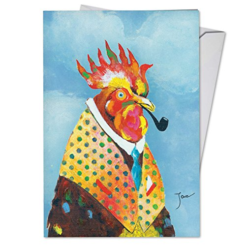 Funny Farm - Watercolor Painted Father's Day Card with Envelope (4.63 x 6.75 Inch) - Hilarious Rooster, Farm Animal Fathers Day Card - Greeting Notecard for Dad, Grandpa, Stepdad C6563HFDG -