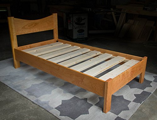 Cherry Platform Bed Frame with Curved 12