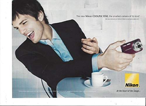 **PRINT AD** With Ashton Kutcher For 2008 Nikon Coolpix S550 Camera S550 Camera