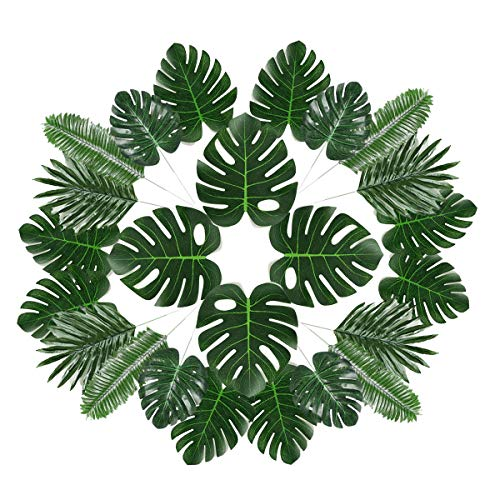 UPSTONE 42 Pieces 5 Kinds Artificial Tropical Palm Leaves Luau Party Decoration Faux Monstera for Hawaiian Luau Party Jungle Beach Theme Party Table Leave Decorations