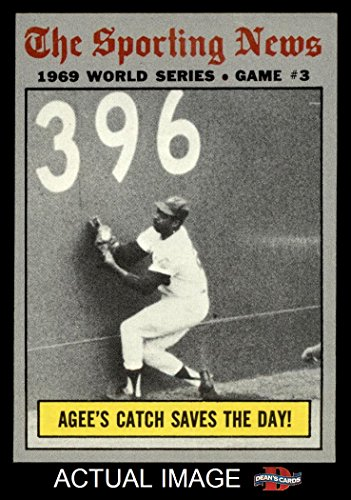 1970 Topps # 307 1969 World Series - Game #3 - Agee's Catch Saves the Day Tommie Agee New York / Baltimore Mets / Orioles (Baseball Card) Dean's Cards 7 (1969 New York Mets Baseball)