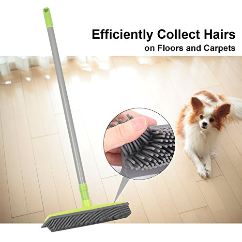 LandHope Push Broom Long Handle Rubber Bristles Sweeper Squeegee Edge 54 inches Non Scratch Bristle Broom for Pet Cat Dog Hair Carpet Hardwood Tile Windows Clean Water Resistant (Grey)
