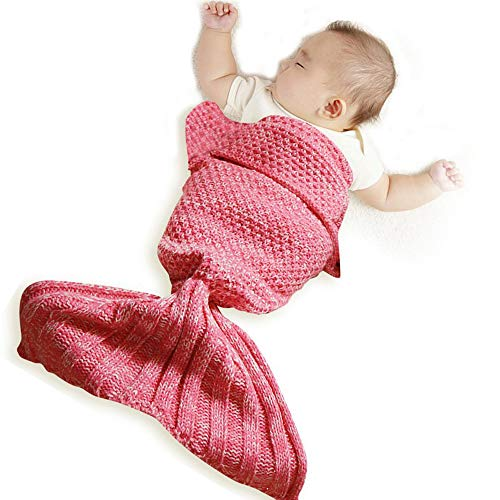 funwill Infant Mermaid Tail Blanket Knit Crochet for Baby Swaddling Sleeping Bag, for Baby Photo Photography (Pink) 35.4inx19.6in