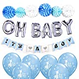 Baby Shower Decorations for Boy/OH BABY letters balloons, Easy set up flower pom poms, It's a Boy Banners and blue balloons, Blue, White and Silver Baby Shower, Unique Baby shower
