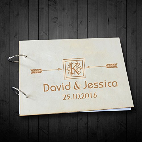 Personalized Bride and Groom Name Initials Arrow Wedding Scrapbook Albums Vintage Wedding Guest Book Wedding Gifts