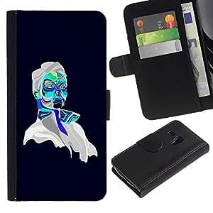 Billetera de Cuero Caso Titular de la tarjeta Carcasa Funda para Samsung Galaxy S3 MINI NOT REGULAR! I8190 I8190N / Psychedelic Portrait / STRONG