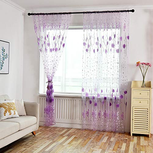 BeautyShe Fresh Floral Print Tulle Voile Door Window ROM Curtain Drape Panel Sheer Scarf Valances