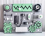 European quality. Handmade Wooden Busy board, Clever Puzzles, Locks and Latches Activity Board (green)