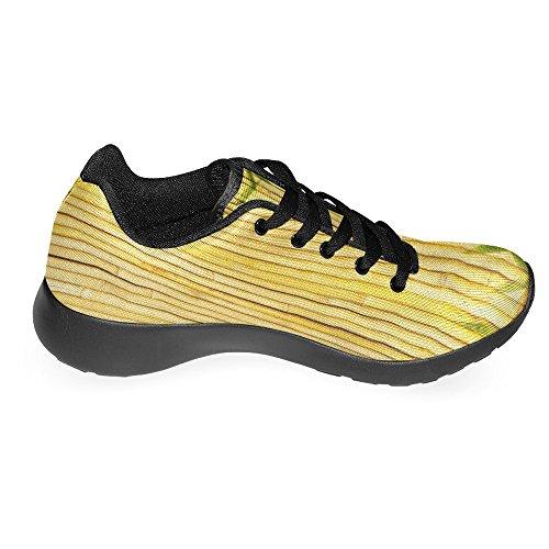 Interestprint Femmes Jogging Running Sneaker Léger Aller Facile À Pied Confort Décontracté Chaussures De Course Lumière Bambou Doré Et Feuilles Multi 1