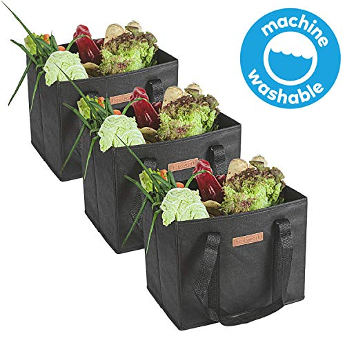 Premium Quality Reusable Grocery Bags Heavy Duty Handles With Reinforced Bottom – 3 Pack Black – Eco Friendly Large…