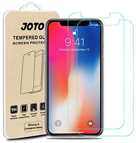 iPhone XS/iPhone X Tempered Glass Screen Protector, JOTO Tempered Glass Screen Film Guard Rounded Edge Real Glass Screen Protector for 5.8 inch Apple iPhone Xs 2018 / iPhone X 2017 (2-Pack)