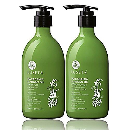 Luseta Macadamia & Argan Oil Shampoo & Conditioner Set, Rejuvenating & Moisturizing Hair, 2 x 16.9 Oz (New Package) ()