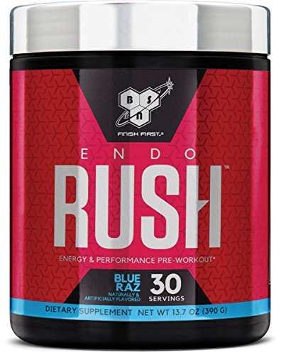 BSN Endorush Pre-Workout Powder, Energy Supplement for Men and Women, 300mg of Caffeine, with Beta-Alanine and Creatine, Blue Raspberry, 30 Servings
