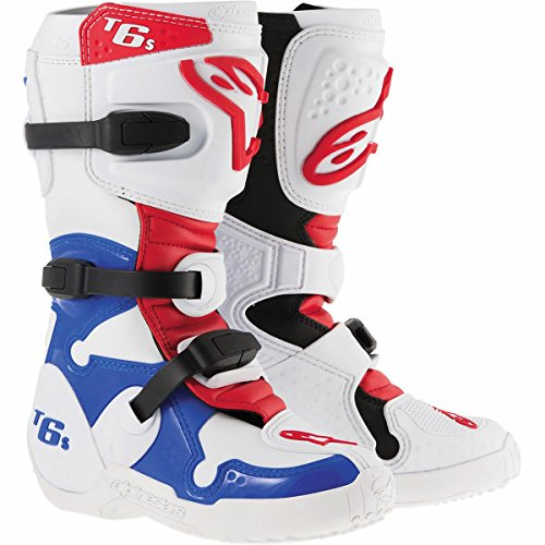 Alpinestars Tech 6S Youth MX Boots White/Blue/Red 5 USA
