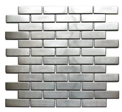 (Large Brick Pattern Mosaic Stainless Steel Tile 8 mm Thick Version - Backsplash/Wall Decor)