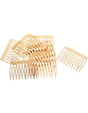 FITYLE 10pcs Antique Silver Gold Bronze Tone Metal Hair Side Combs Clips Pins 2.7/5.6cm for DIY Jewelry Finding Crafts - Gold, 5.6cm