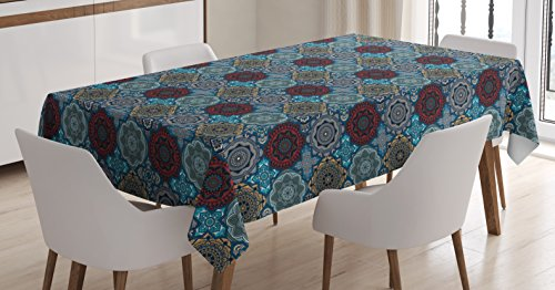 Ambesonne Moroccan Tablecloth, Patchwork Style Vintage Ottoman Inspiration Retro Motifs, Dining Room Kitchen Rectangular Table Cover, 60