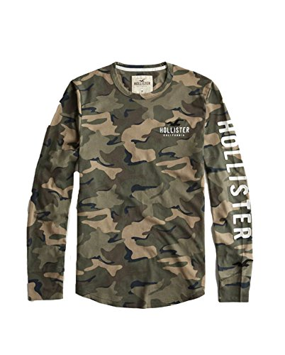 Hollister Men's Long Sleeve Tee T Shirt (Camo, S)