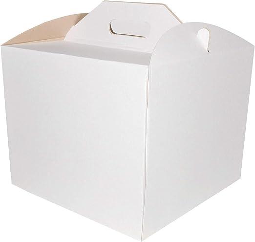 SweetFlo - Caja de cartón para Tartas, con asa, Color Blanco, Papel, 30x30x25: Amazon.es: Hogar