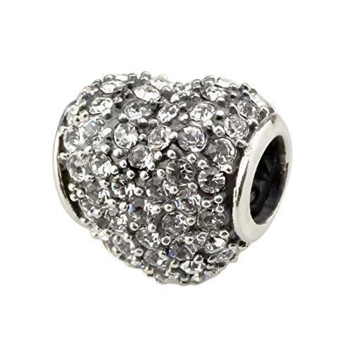 Beads Hunter Clear Crystal Heart Pave 925 Sterling Silver Charm Fit Pandora Bracelets