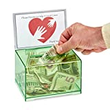 Adir Acrylic Donation Ballot Box with Lock - Secure and Safe Suggestion Box - Drawing Box - Great for Business Cards