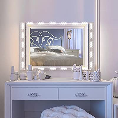 IMAGE Vanity Mirror LED Light, 12.5FT 75 LED Bulbs UL Safety Standard Make up Mirror LED Light Kit for Cosmetic Mirror with Dimmer Controller - White